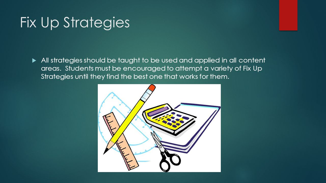 Fix Up Strategies  All strategies should be taught to be used and applied in all content areas.