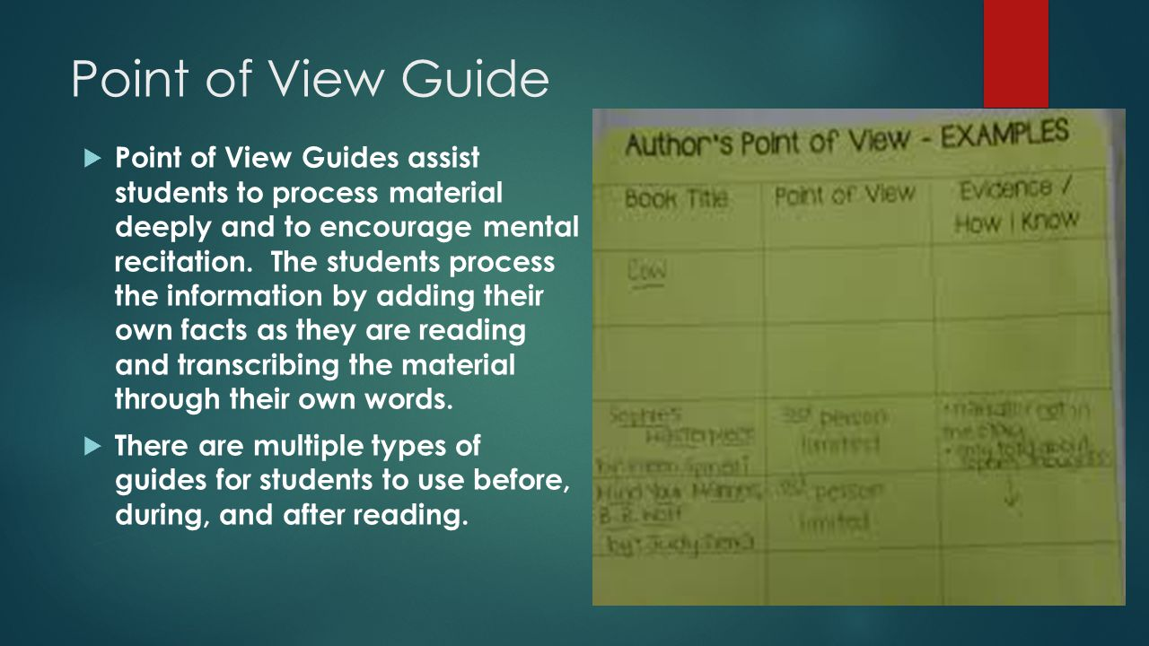 Point of View Guide  Point of View Guides assist students to process material deeply and to encourage mental recitation.