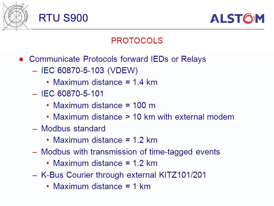 Communicate Protocols forward IEDs or Relays –IEC 60870-5-103 (VDEW) Maximum distance = 1.4 km –IEC 60870-5-101 Maximum distance = 100 m Maximum dista