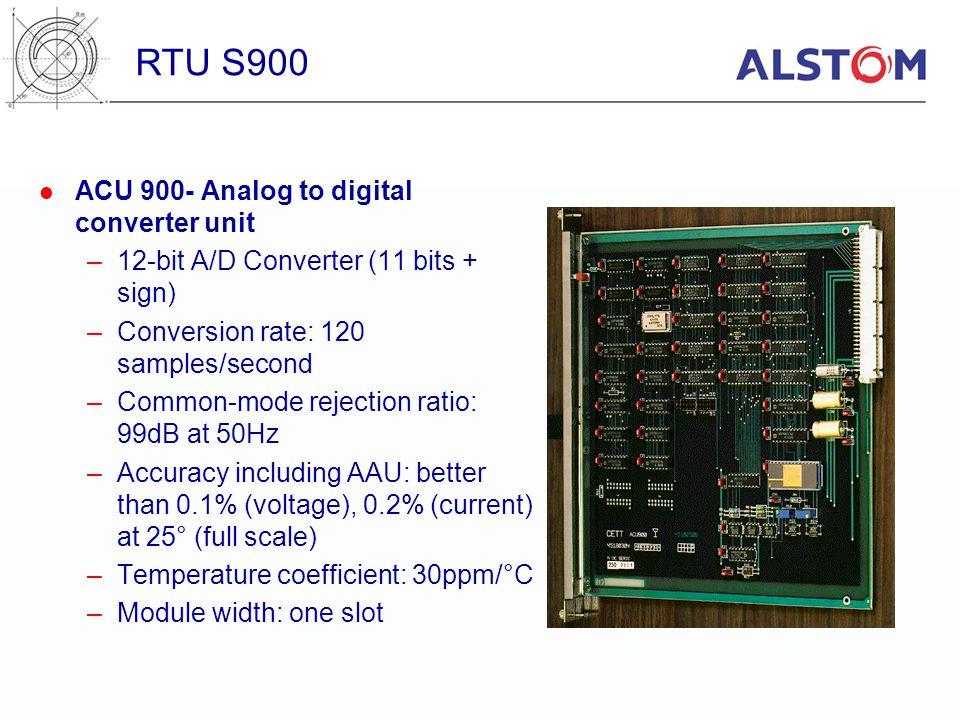 ACU 900- Analog to digital converter unit –12-bit A/D Converter (11 bits + sign) –Conversion rate: 120 samples/second –Common-mode rejection ratio: 99