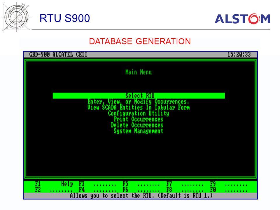 RTU S900 DATABASE GENERATION