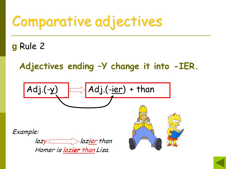Comparative adjectives g Rule 2 Adjectives ending –Y change it into -IER. Adj.(-y)Adj.(-ier) + than Example: lazy lazier than Homer is lazier than Lis