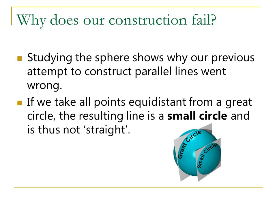 Why does our construction fail? Studying the sphere shows why our previous attempt to construct parallel lines went wrong. If we take all points equid