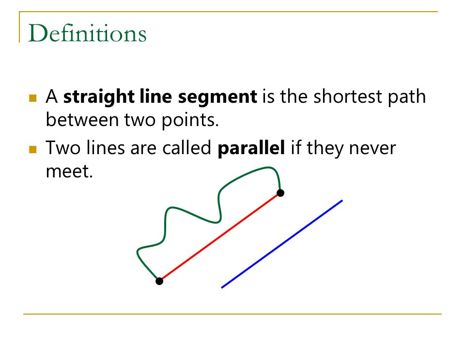 Definitions A straight line segment is the shortest path between two points. Two lines are called parallel if they never meet.