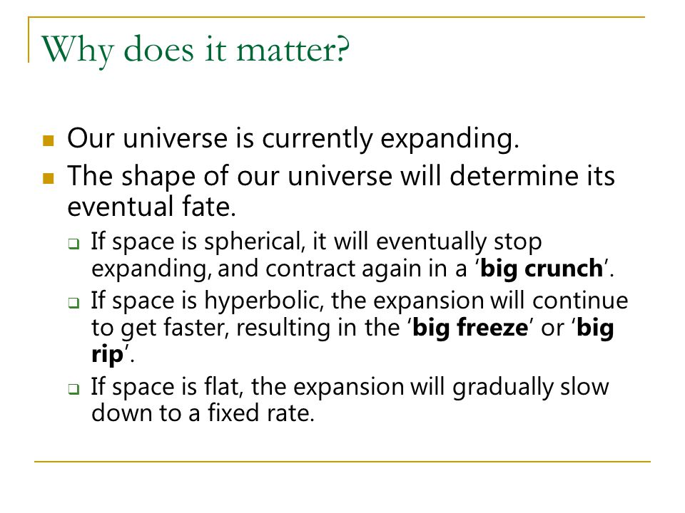 Why does it matter? Our universe is currently expanding. The shape of our universe will determine its eventual fate.  If space is spherical, it will