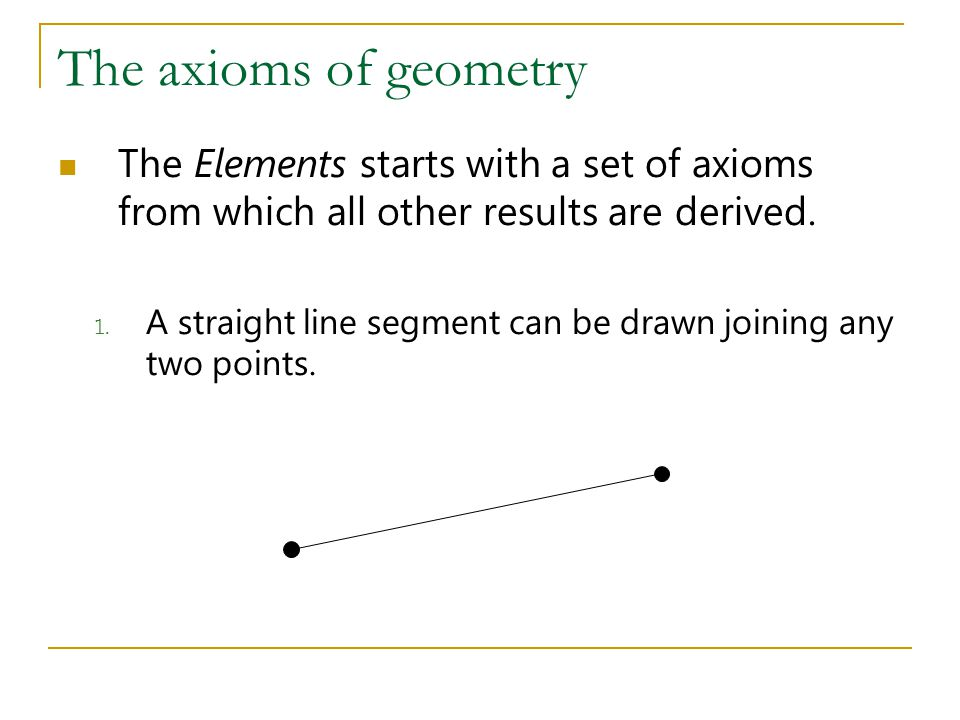 The axioms of geometry 2.