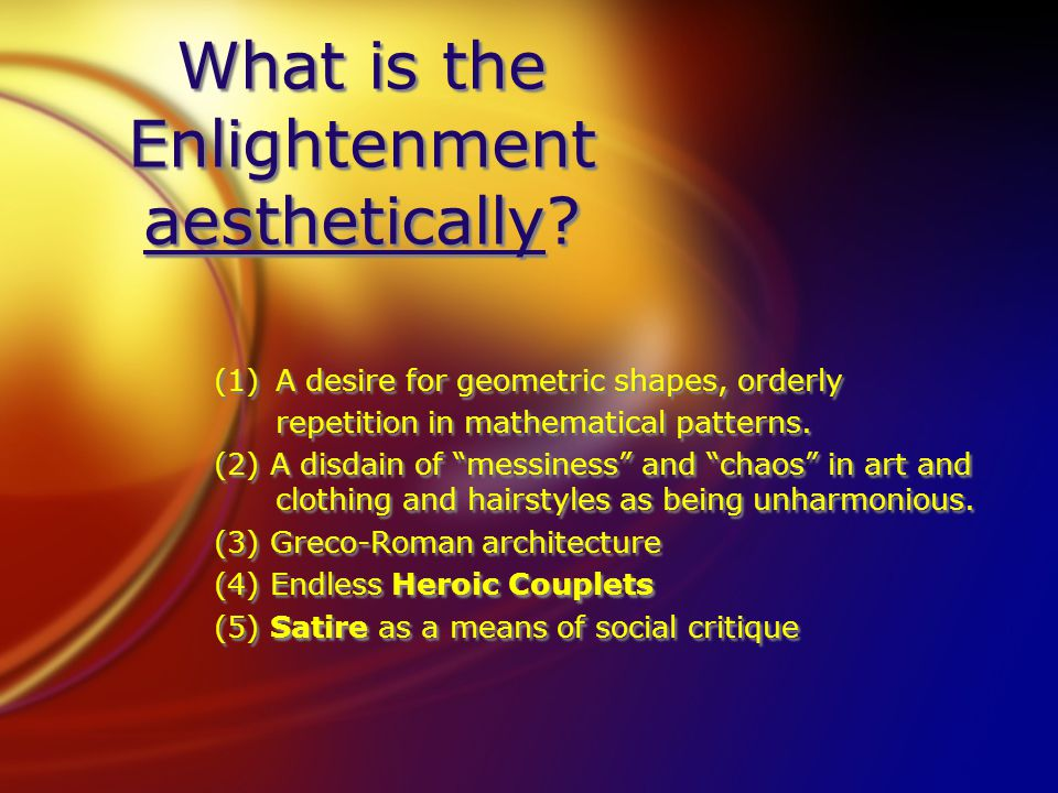 What is the Enlightenment aesthetically.