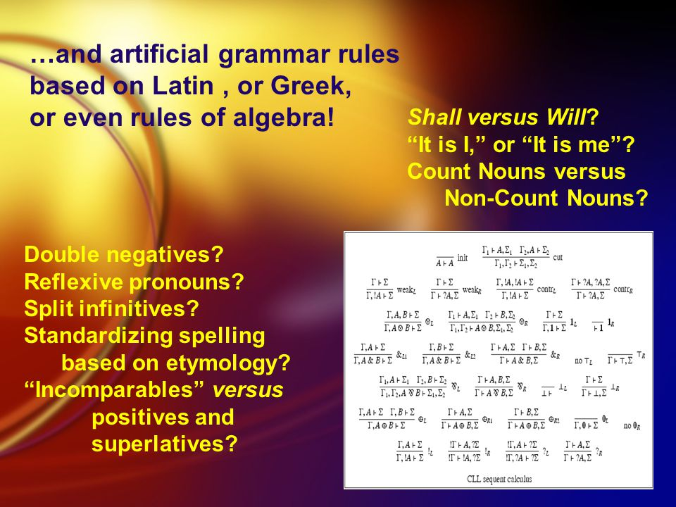 …and artificial grammar rules based on Latin, or Greek, or even rules of algebra.