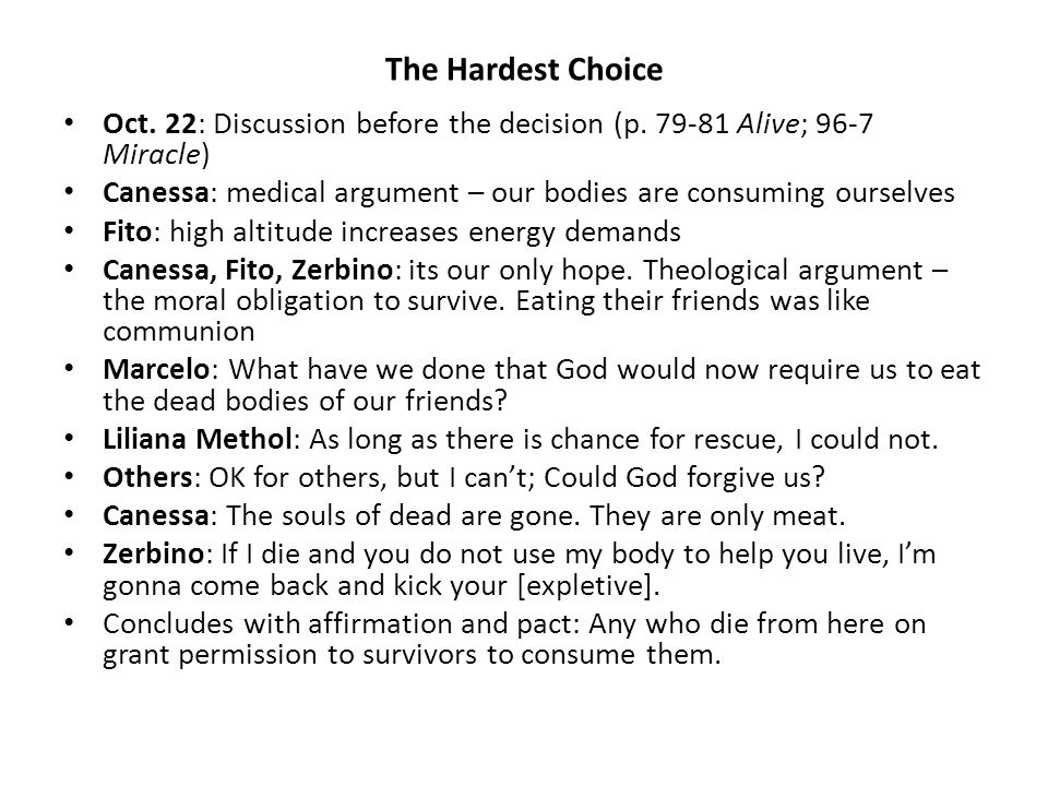 The Hardest Choice Oct. 22: Discussion before the decision (p.