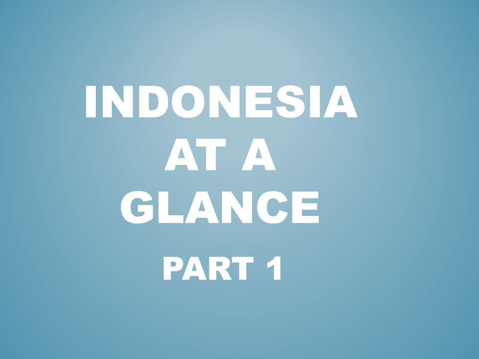 PART 1 INDONESIA AT A GLANCE