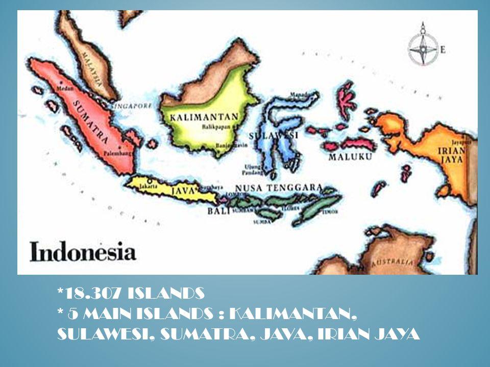 *18.307 ISLANDS * 5 MAIN ISLANDS : KALIMANTAN, SULAWESI, SUMATRA, JAVA, IRIAN JAYA