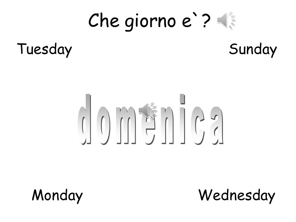 Che giorno e`? 1 Pupils should look at the slides, listen to the day of the week in Italian and try and match the day of the week to the correct word