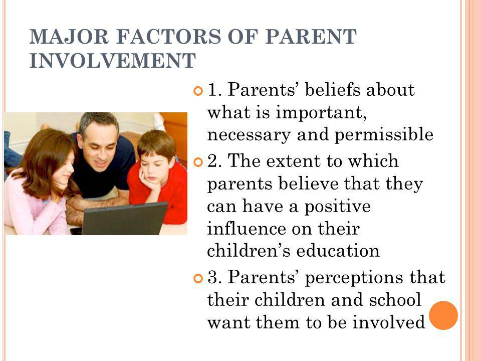 MAJOR FACTORS OF PARENT INVOLVEMENT 1. Parents' beliefs about what is important, necessary and permissible 2. The extent to which parents believe that