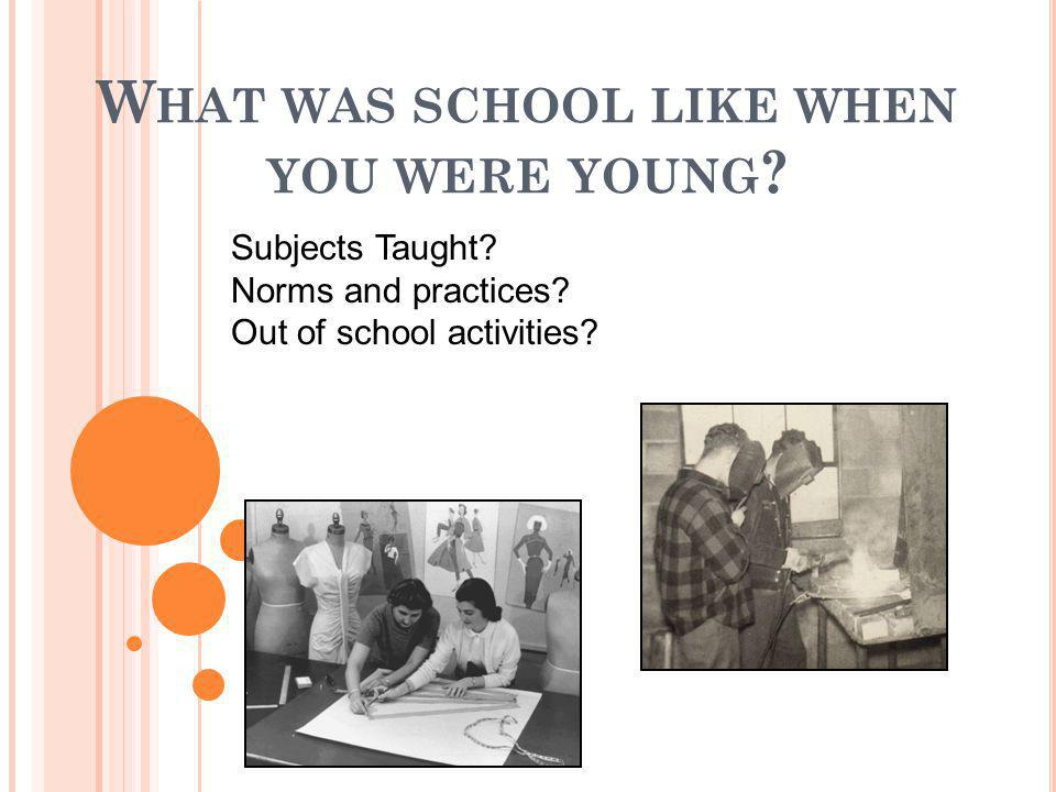 W HAT WAS SCHOOL LIKE WHEN YOU WERE YOUNG ? Subjects Taught? Norms and practices? Out of school activities?
