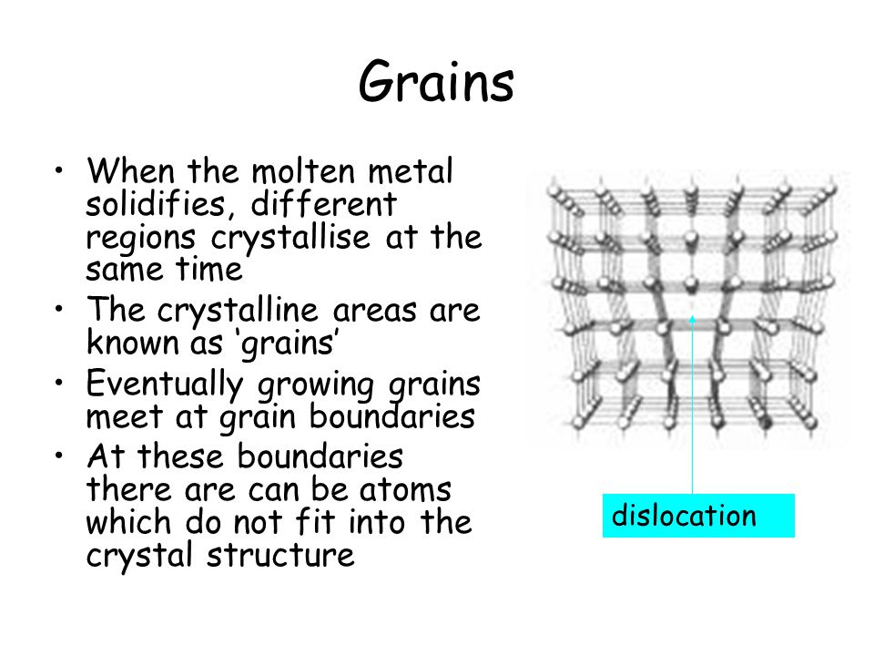 Grains When the molten metal solidifies, different regions crystallise at the same time The crystalline areas are known as 'grains' Eventually growing