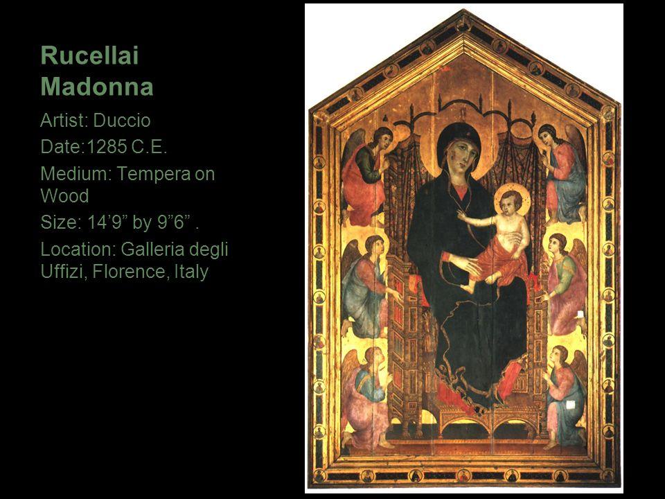 """Rucellai Madonna Artist: Duccio Date:1285 C.E. Medium: Tempera on Wood Size: 14'9"""" by 9""""6"""". Location: Galleria degli Uffizi, Florence, Italy"""