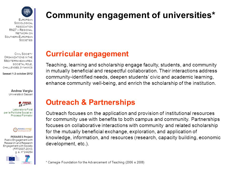 Community engagement of universities* * Carnegie Foundation for the Advancement of Teaching (2006 e 2008) Curricular engagement Outreach & Partnerships Teaching, learning and scholarship engage faculty, students, and community in mutually beneficial and respectful collaboration.