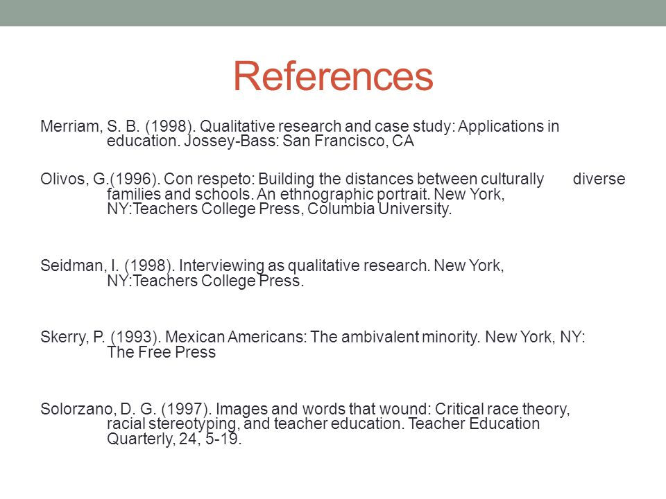 References Merriam, S. B. (1998). Qualitative research and case study: Applications in education.