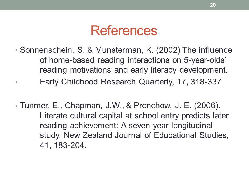 References Sonnenschein, S. & Munsterman, K.