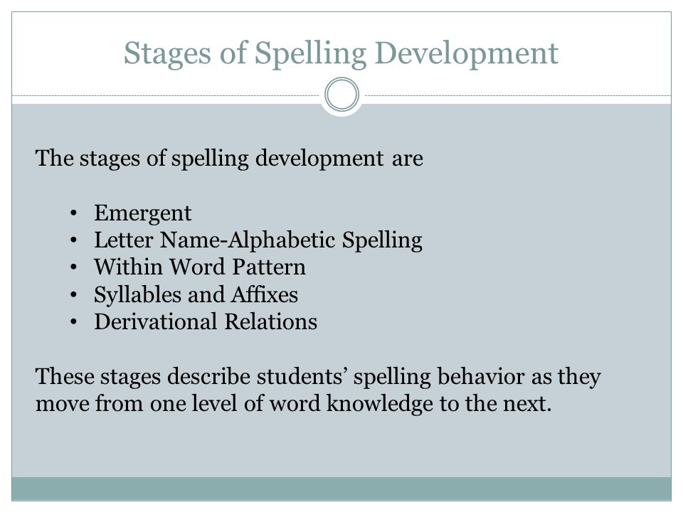 Pre-K to middle of 1st Emergent K to middle of 2nd Letter Name - Alphabetic Within Word Pattern Grade 1 to middle of 4th Syllables & Affixes Grades 3 to 8 Grades 5 to 12 Derivational Relations Grade Range Spelling Stages Synchrony of Literacy Development Alphabet Pattern Meaning