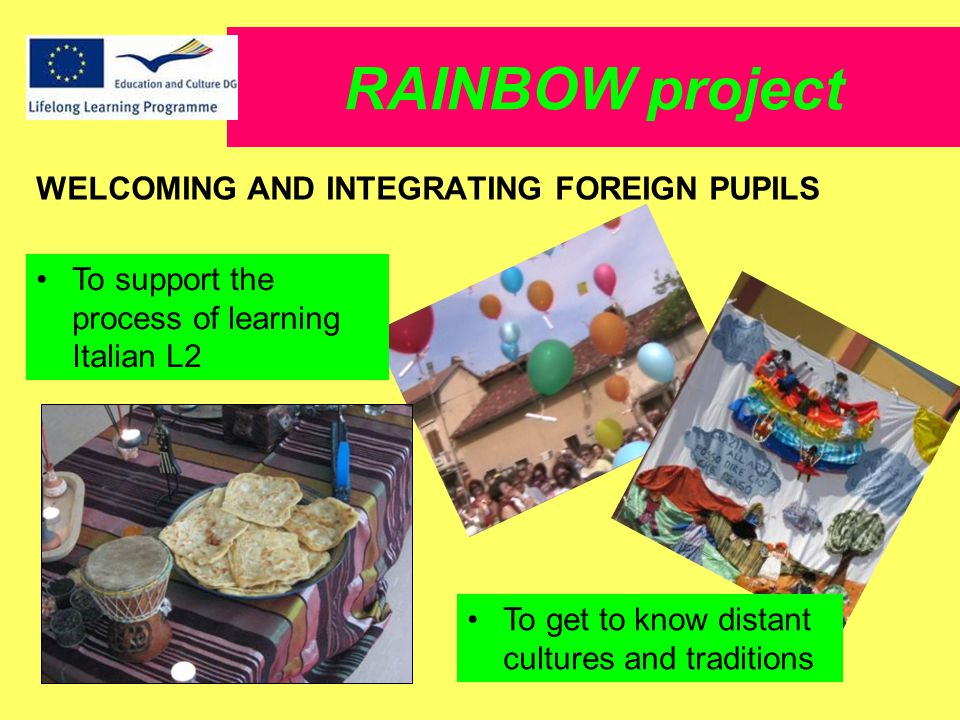 RAINBOW project WELCOMING AND INTEGRATING FOREIGN PUPILS To support the process of learning Italian L2 To get to know distant cultures and traditions