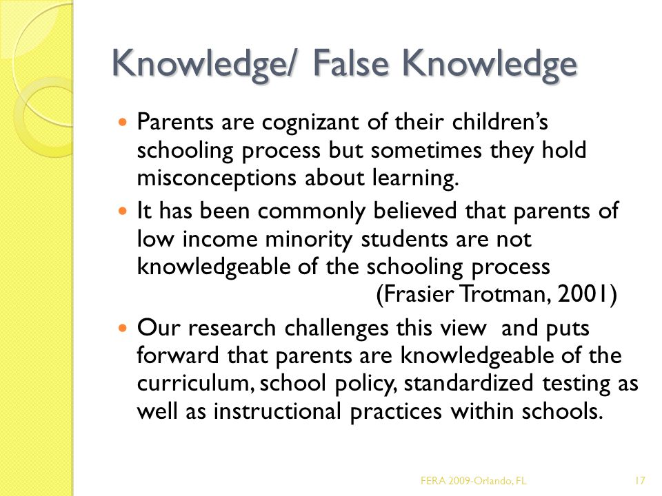 Knowledge/ False Knowledge Parents are cognizant of their children's schooling process but sometimes they hold misconceptions about learning.