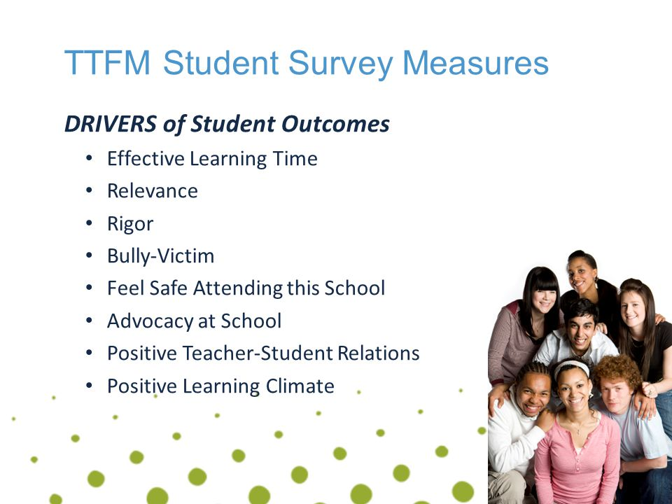 Success Factors & TTFM Data Assessment Literacy The goal of assessment has to be, above all, to support the improvement of learning and teaching.