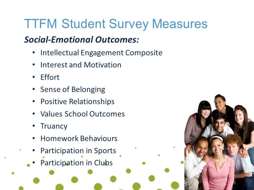TTFM Student Survey Measures Demographic Factors Grade Sex Socio-economic factors Language Spoken at Home Grade Repetition Immigrant Status Aboriginal Status Age Change School