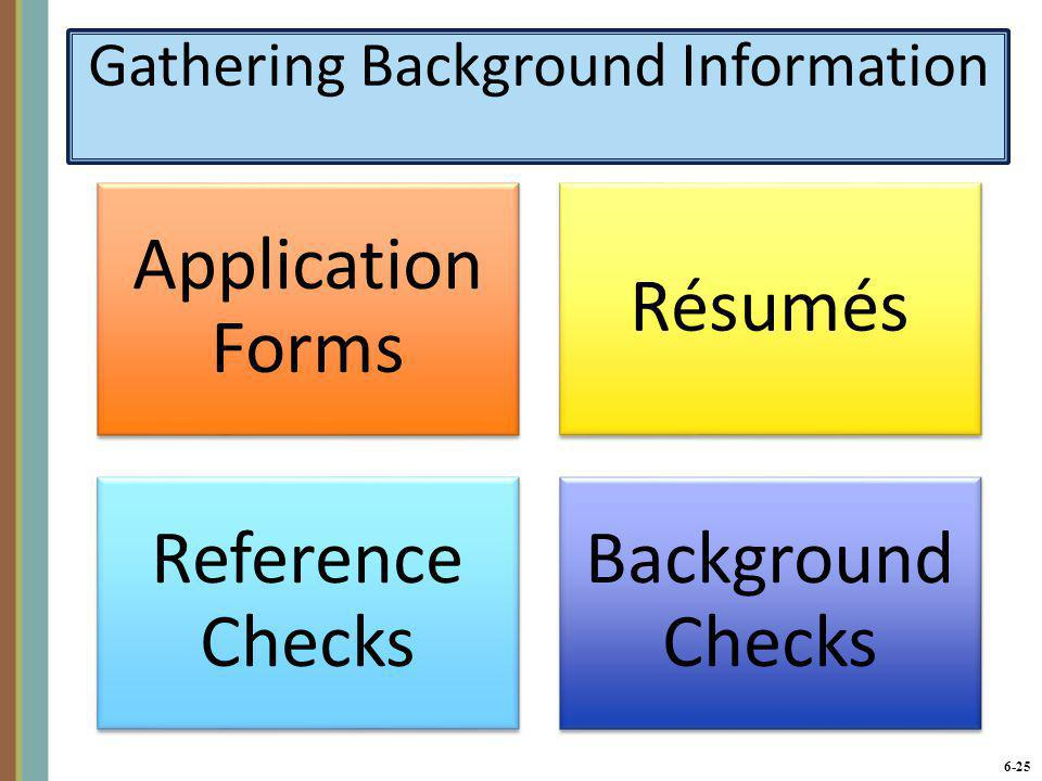 6-25 Gathering Background Information Application Forms Résumés Reference Checks Background Checks