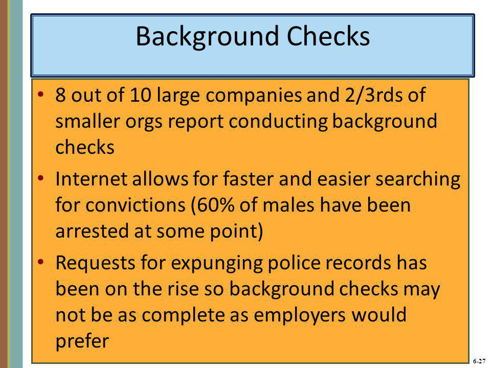 6-27 Background Checks 8 out of 10 large companies and 2/3rds of smaller orgs report conducting background checks Internet allows for faster and easie