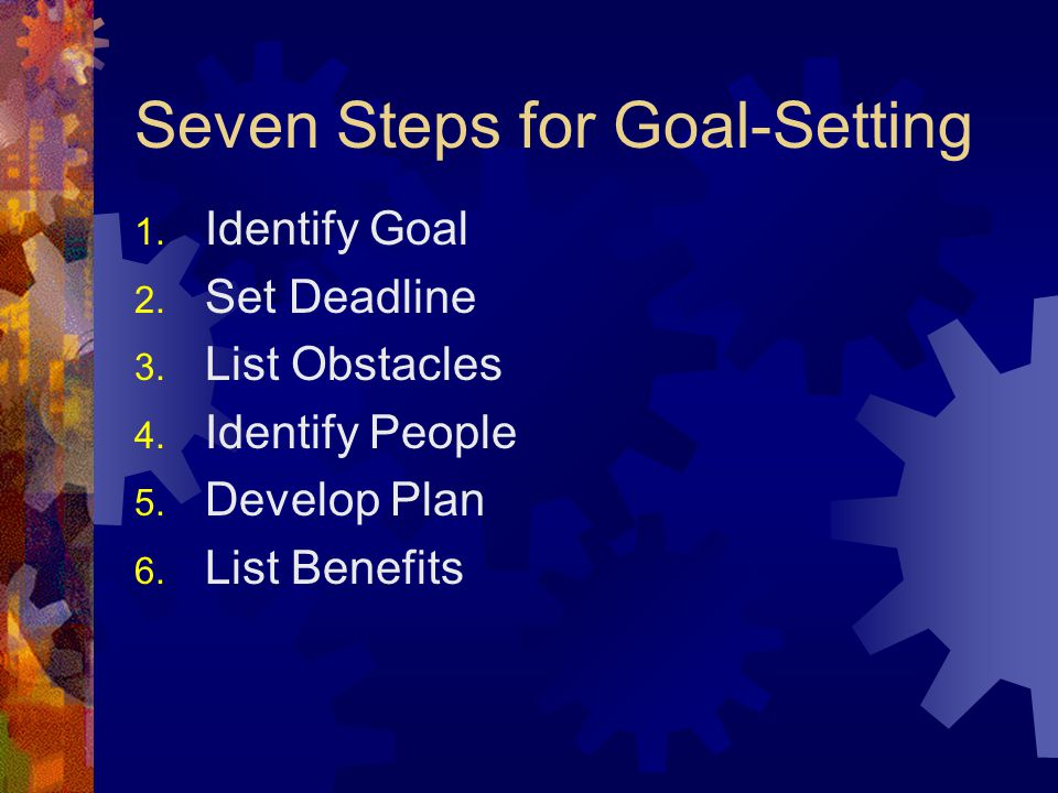 Seven Steps for Goal-Setting 1. Identify Goal 2. Set Deadline 3.