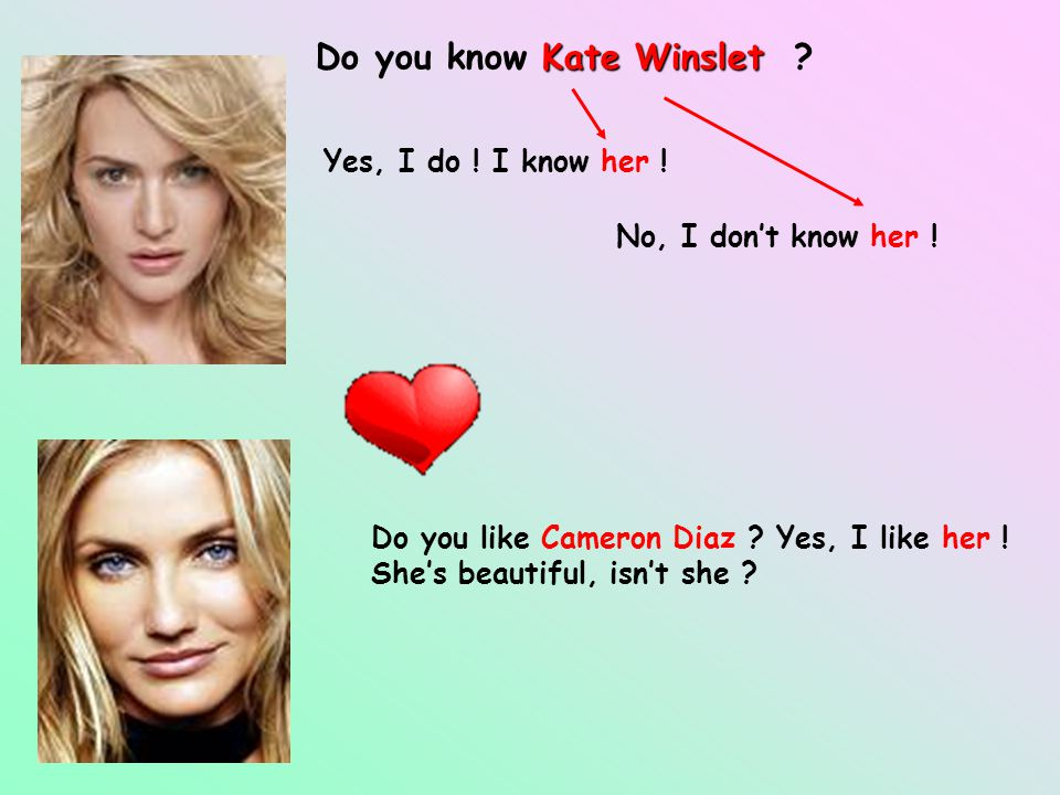 Kate Winslet Do you know Kate Winslet . Yes, I do .