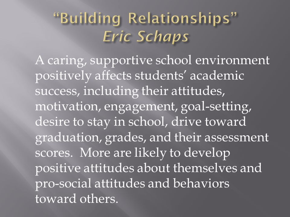 A caring, supportive school environment positively affects students' academic success, including their attitudes, motivation, engagement, goal-setting