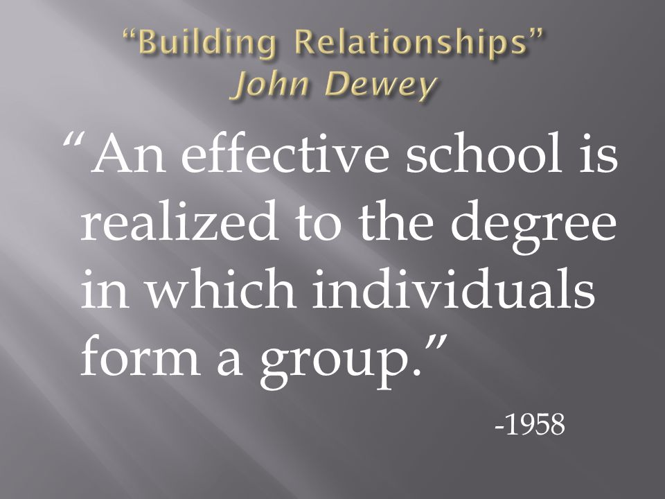 An effective school is realized to the degree in which individuals form a group. -1958
