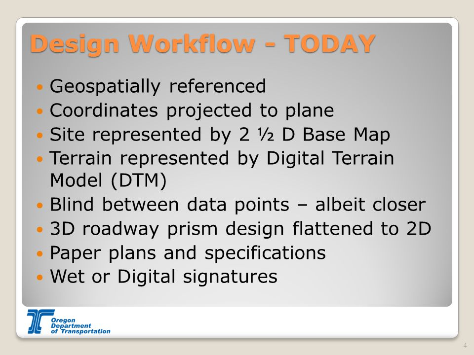Design Workflow - TODAY Geospatially referenced Coordinates projected to plane Site represented by 2 ½ D Base Map Terrain represented by Digital Terra