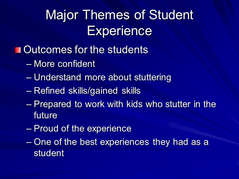 Major Themes of Student Experience Outcomes for the students –More confident –Understand more about stuttering –Refined skills/gained skills –Prepared to work with kids who stutter in the future –Proud of the experience –One of the best experiences they had as a student