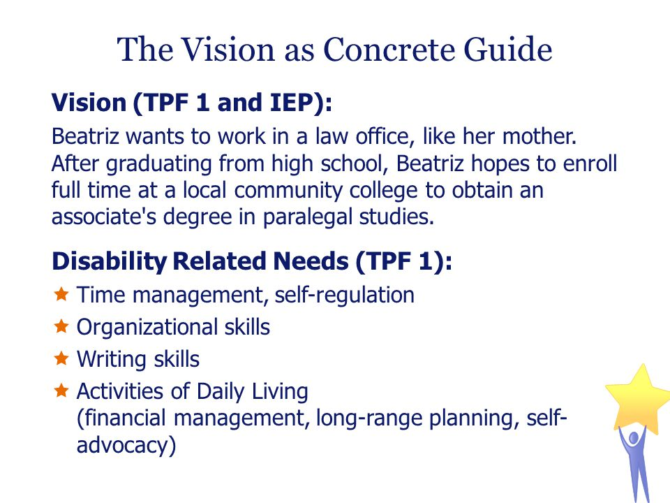 The Vision as Concrete Guide Vision (TPF 1 and IEP): Beatriz wants to work in a law office, like her mother.