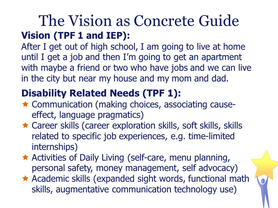 The Vision as Concrete Guide Vision (TPF 1 and IEP): After I get out of high school, I am going to live at home until I get a job and then I'm going to get an apartment with maybe a friend or two who have jobs and we can live in the city but near my house and my mom and dad.