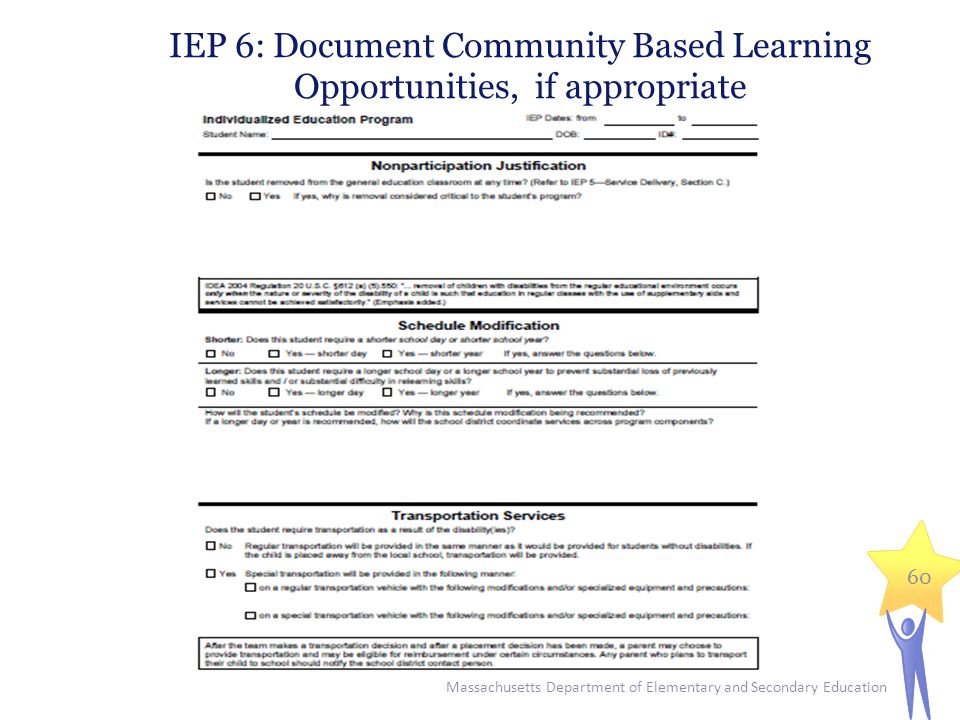 Massachusetts Department of Elementary and Secondary Education 60 IEP 6: Document Community Based Learning Opportunities, if appropriate
