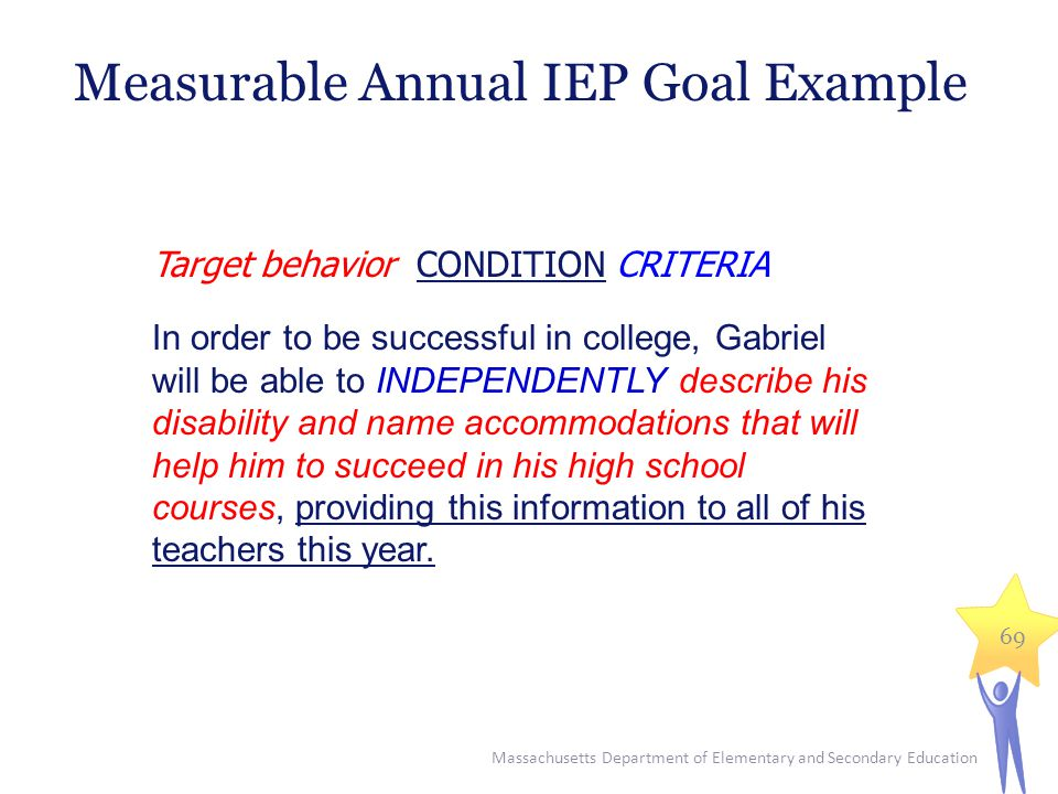Massachusetts Department of Elementary and Secondary Education 69 Target behavior CONDITION CRITERIA In order to be successful in college, Gabriel will be able to INDEPENDENTLY describe his disability and name accommodations that will help him to succeed in his high school courses, providing this information to all of his teachers this year.