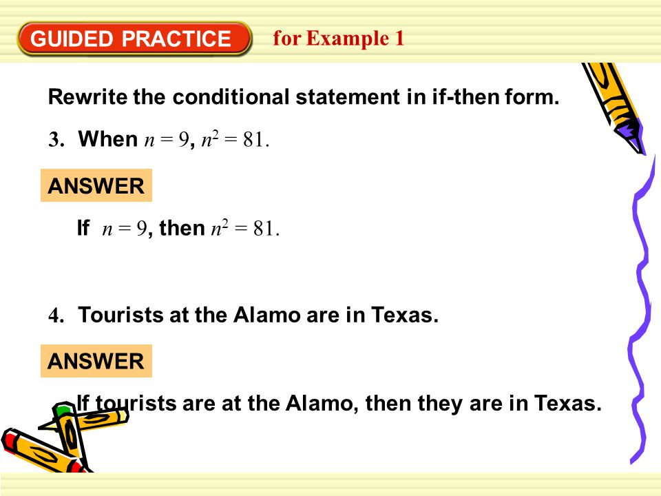 GUIDED PRACTICE for Example 4 12.Rewrite the statements as a biconditional.
