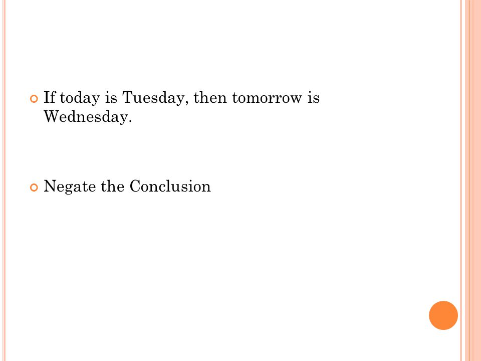 If today is Tuesday, then tomorrow is Wednesday. Negate the Conclusion