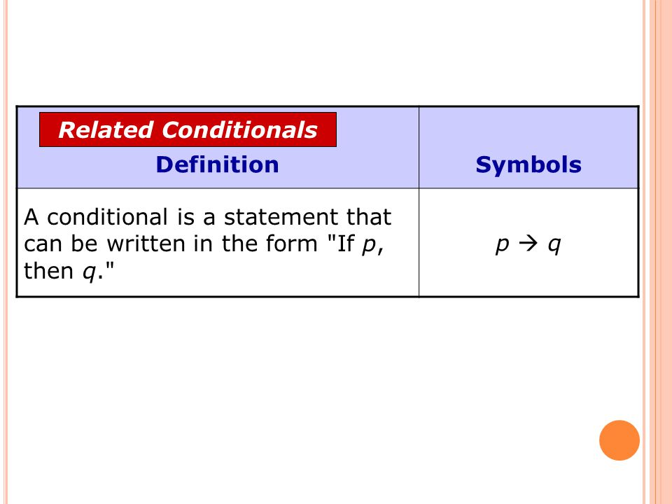 DefinitionSymbols A conditional is a statement that can be written in the form
