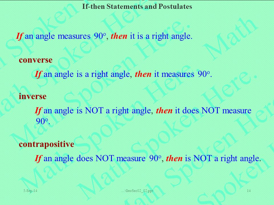 If-then Statements and Postulates 5-Sep-14…\GeoSec02_02.ppt14 If an angle measures 90 o, then it is a right angle.