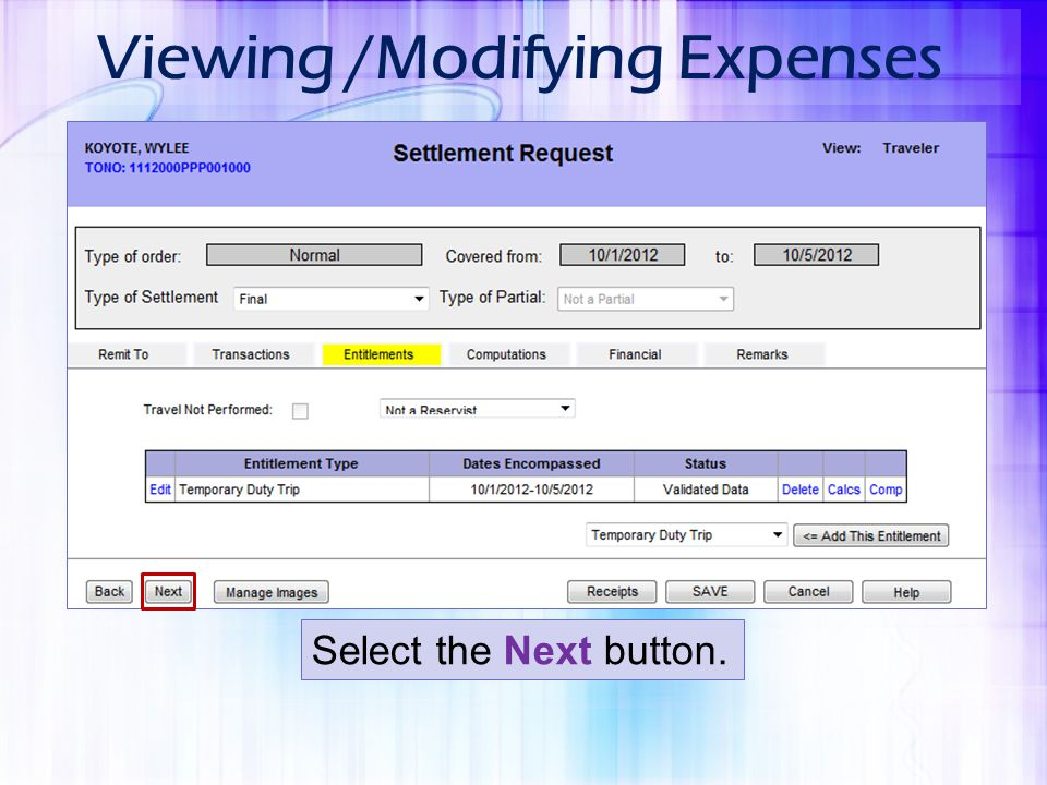 Viewing /Modifying Expenses Select the Next button.