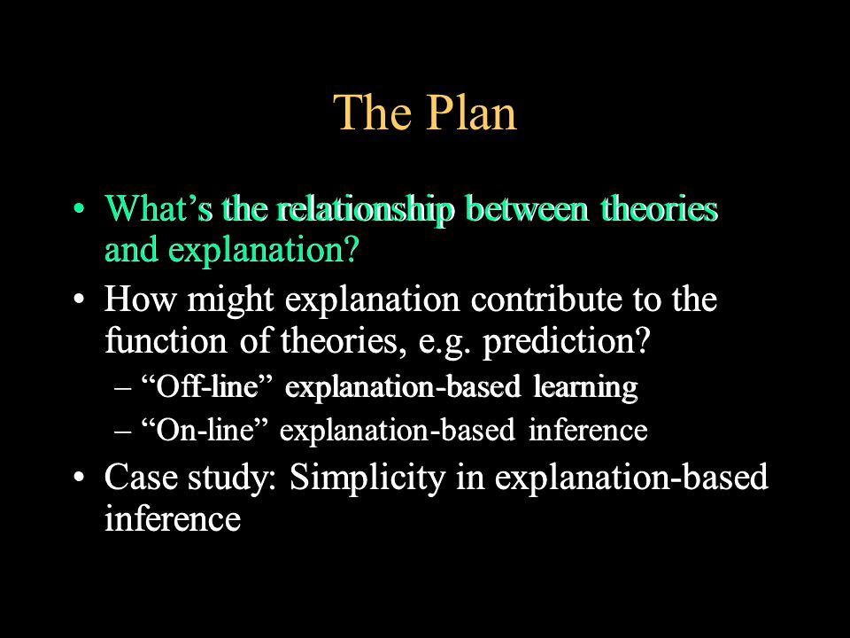 The Plan What's the relationship between theories and explanation.