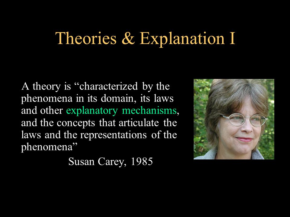 Theories & Explanation I A theory is characterized by the phenomena in its domain, its laws and other explanatory mechanisms, and the concepts that articulate the laws and the representations of the phenomena Susan Carey, 1985