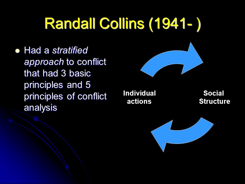 Randall Collins (1941- ) Had a stratified approach to conflict that had 3 basic principles and 5 principles of conflict analysis Had a stratified appr