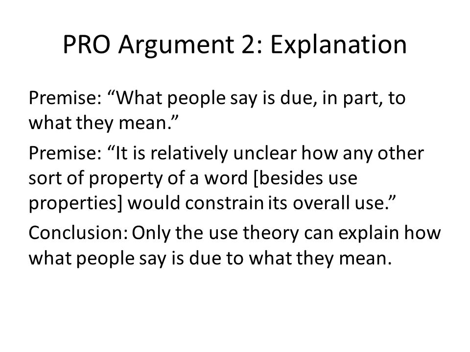 "PRO Argument 2: Explanation Premise: ""What people say is due, in part, to what they mean."" Premise: ""It is relatively unclear how any other sort of pr"