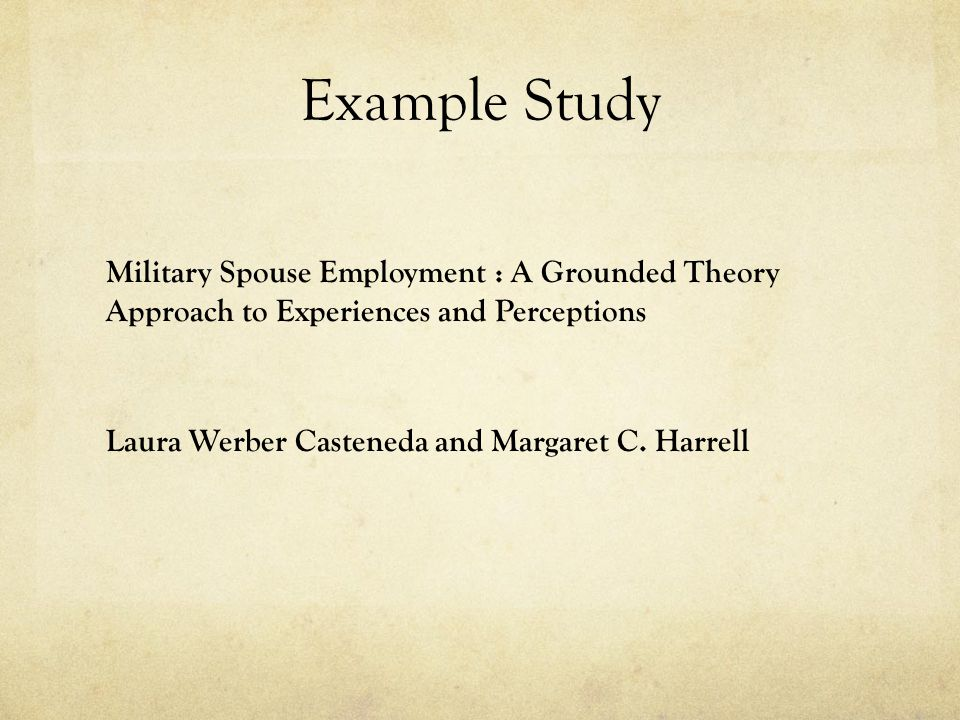 Example Study Military Spouse Employment : A Grounded Theory Approach to Experiences and Perceptions Laura Werber Casteneda and Margaret C. Harrell